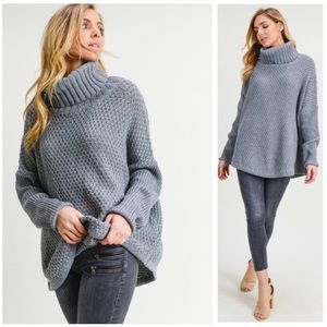 Chunky Steele Gray Cowl Sweater Pullover